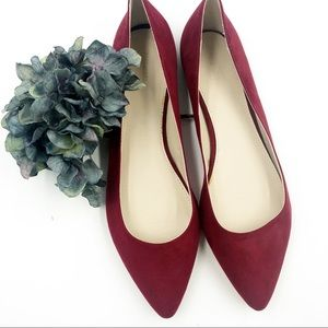 Forever 21 | Red Faux Suede Pointy Toe Flat